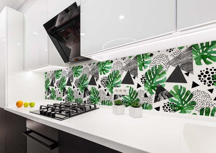 Fototapeta ze wzorem tropikalnych liści do kuchni
