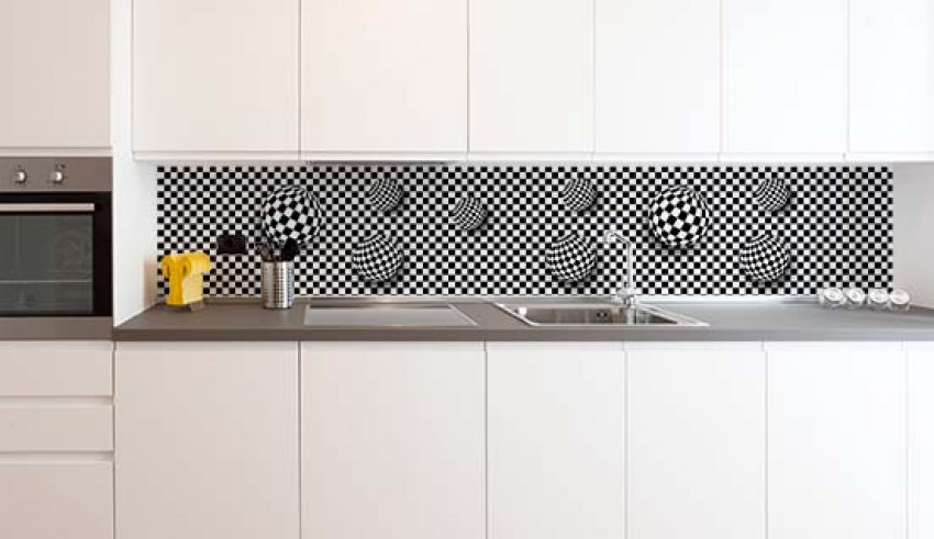 Fototapeta do kuchni - czarno-białe kule 3d
