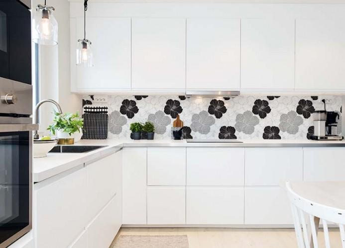 Fototapeta do kuchni - czarno-białe kwiaty, hibiskus