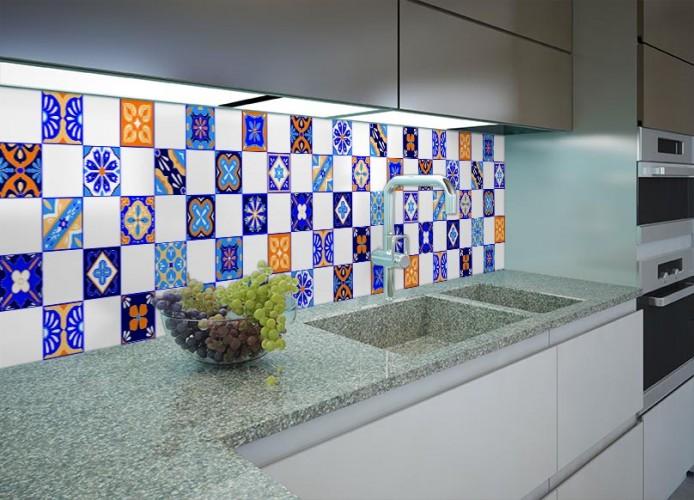 Fototapeta do kuchni - niebiesko - białe płytki azulejos