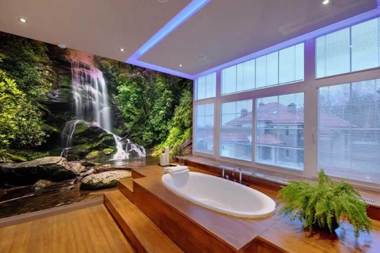 Fototapeta do łazienki z motywem wodospadu