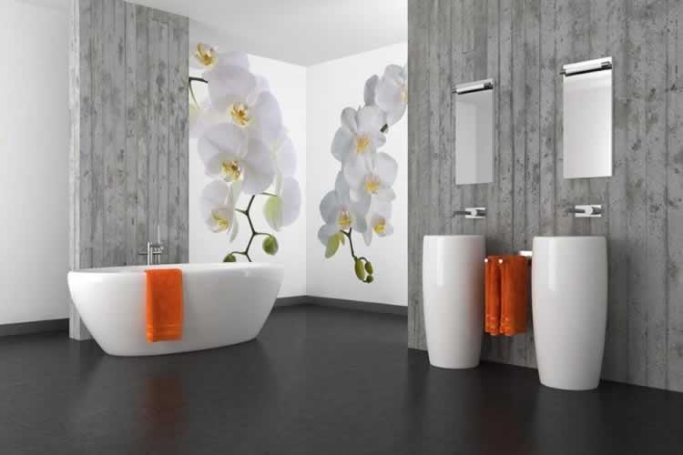 Fototapeta do łazienki z motywem białej orchidei