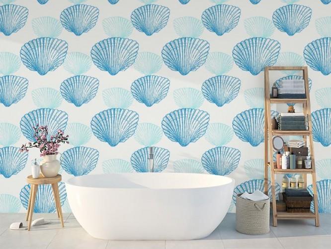 Fototapeta z muszelkami do łazienki w stylu marynistycznym