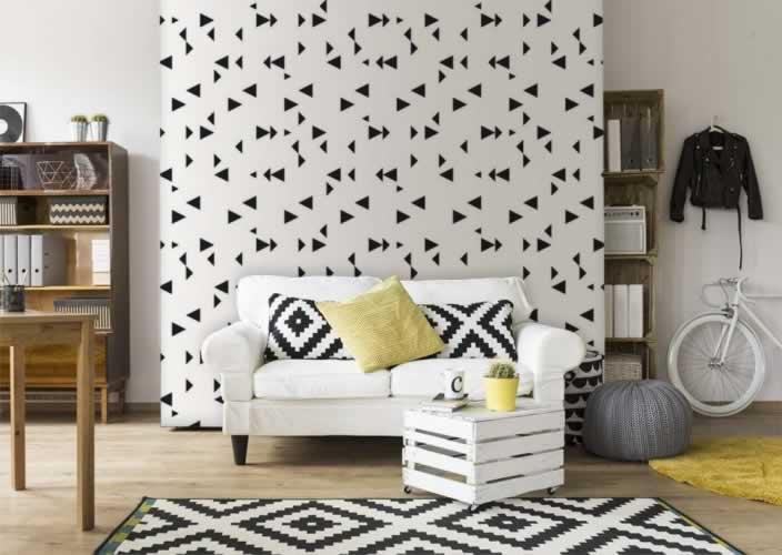 Fototapeta do pokoju z czarno-białym wzorem abstrakcyjnym
