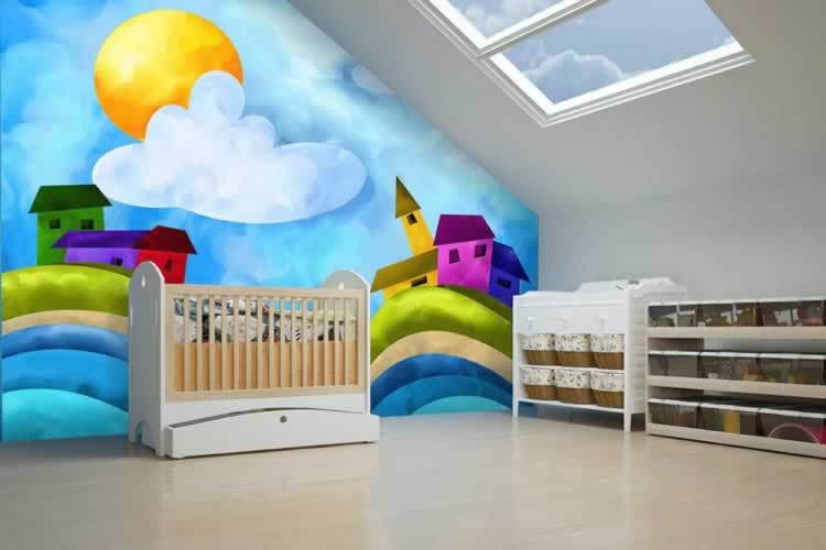 Fototapeta do pokoju dziecka z kolorowymi domkami