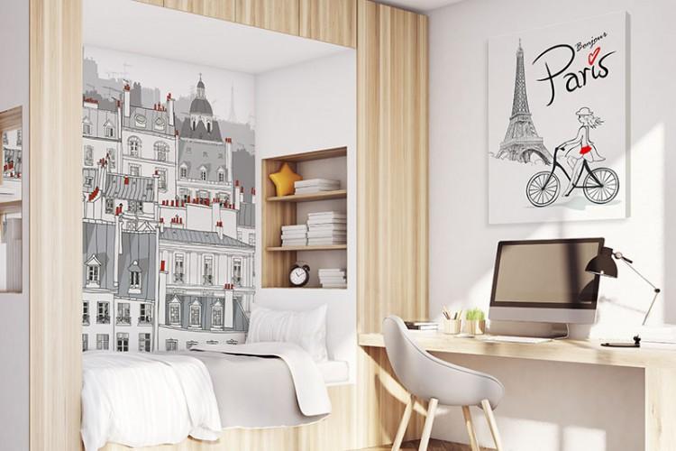 Fototapeta z kamienicami paryskimi w pokoju nastolatki