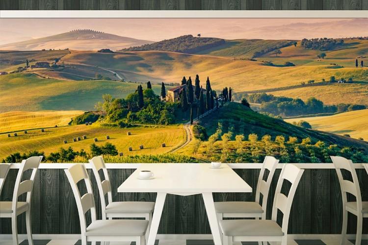 Fototapeta z pejzażem Toskanii do restauracji włoskiej