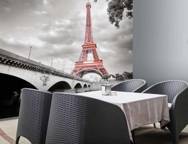 Fototapeta do restauracji z motywem wieży Eiffla