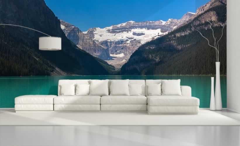 Fototapeta do salonu z motywem gór nad jeziorem