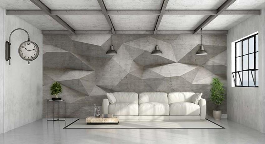 Fototapeta do salonu w stylu industrialnym z motywem bloków betonowych