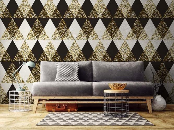 Fototapeta do salonu ze wzorem geometrycznym - trójkąty i romby