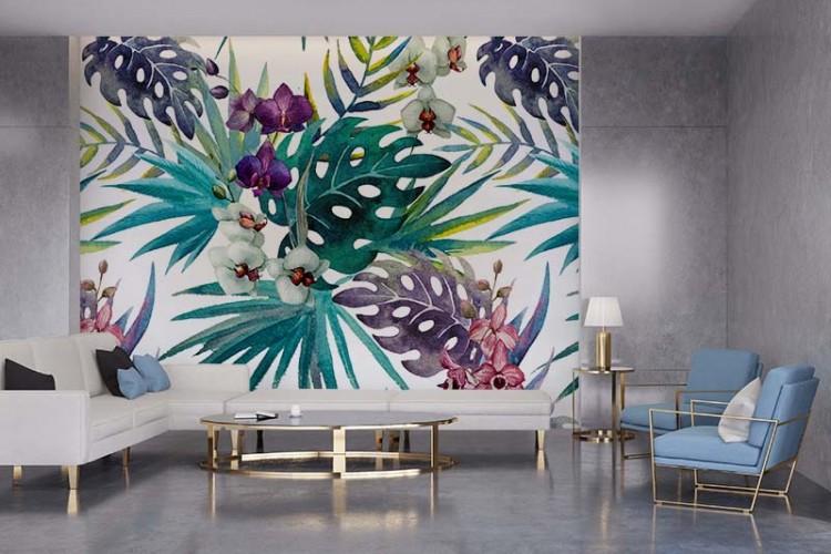 Fototapeta do salonu ze wzorem kwiatów egzotycznych - akwarela