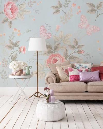 Fototapeta do salonu w stylu romantycznym - róże i motyle