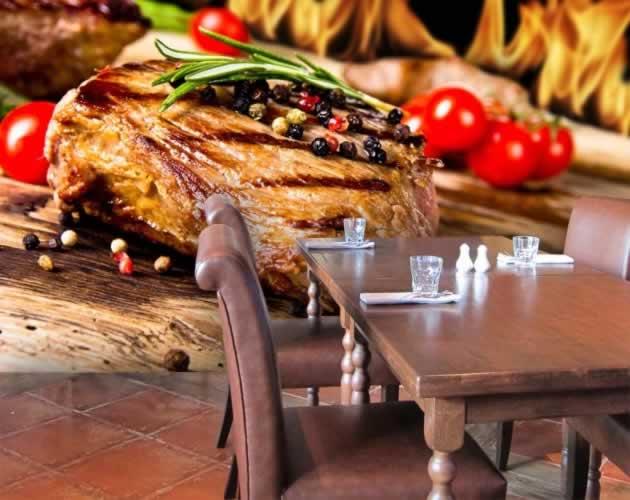 Fototapeta do steakhouse z motywem gorącego, soczystego steku