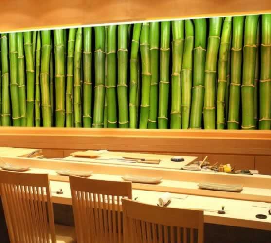 Fototapeta do sushi baru z motywem bambusa