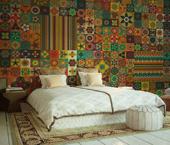 Fototapeta z kolorowym ornamentem do sypialni