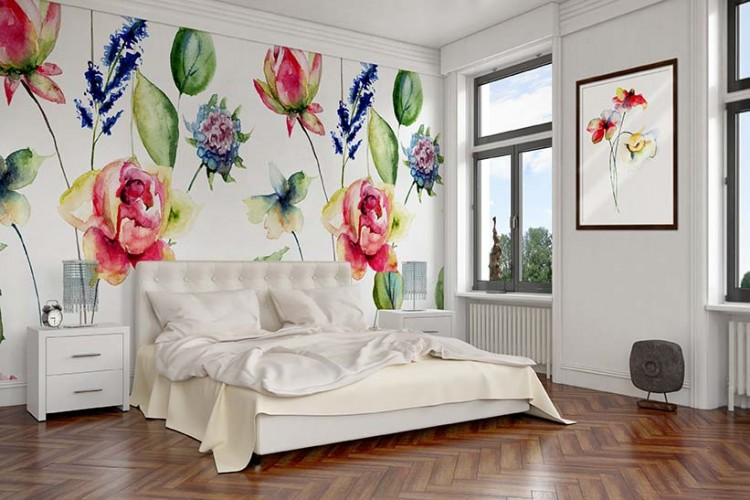 Fototapeta z kwiatami malowane jak akwarelą do sypialnią