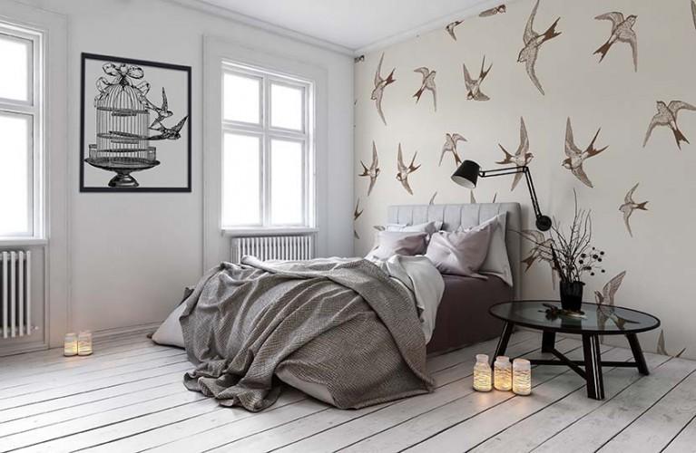 Fototapeta z jaskółkami do sypialni