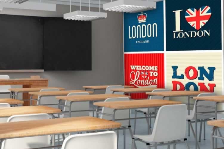 Fototapeta do szkoły językowej - grafika typograficzna z motywem Londynu