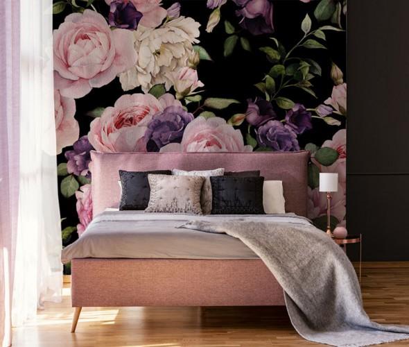 Fototapeta z dużymi kwiatami do sypialni