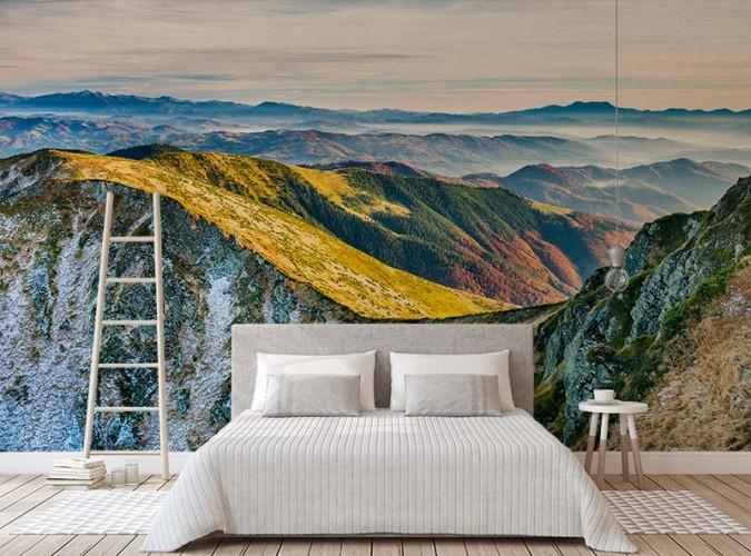 Fototapeta do sypialni - zachód słońca nad górami