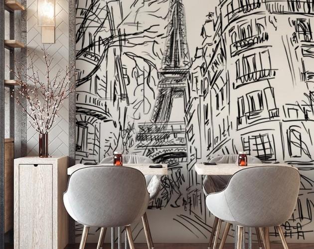 Fototapeta do kawiarni z motywem uliczki w Paryżu