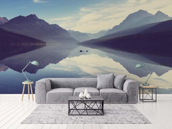 Fototapeta z jeziorem i górami