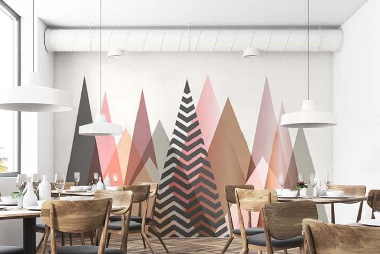 Fototapeta z lasem choinek do restauracji.