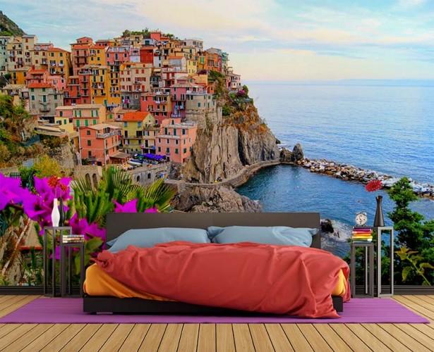 Fototapeta do sypialni - krajobraz włoski, miasto Manarola