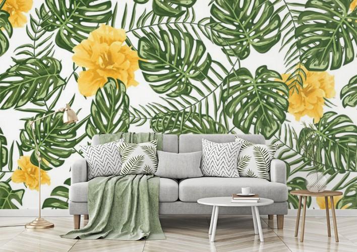 Fototapeta do salonu z egzotycznymi kwiatami