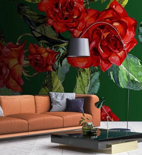 Fototapeta z czerwonymi różami na zielonym tle - jak malowane