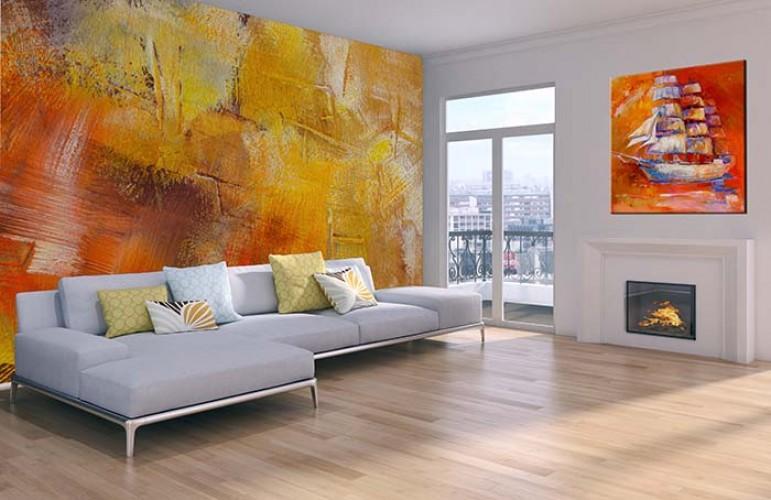 Fototapeta - malarska abstrakcja w ciepłych kolorach