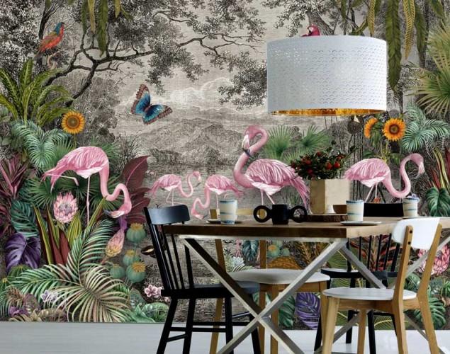 Fototapeta malowany las palmy i egzotyczne ptaki