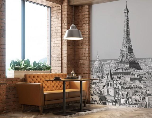 Fototapeta do restauracji francuskiej - Dachy Paryża z Wieżą Eiffla