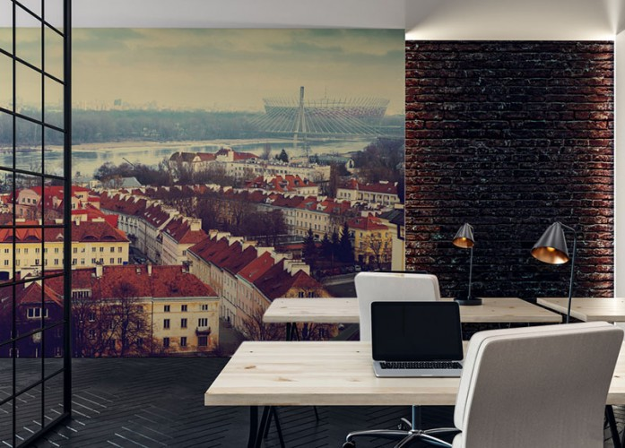 Fototapeta do biura z widokiem na miasto Warszawę