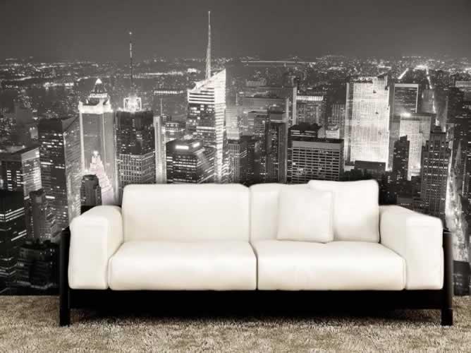 Fototapeta czarno-biała przedstawiająca miasto nocą
