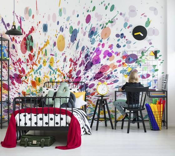 Fototapeta z motywem rozchlapanej farby do pokoju młodzieżowego