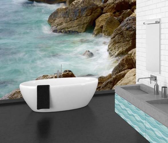 Fototapeta z morskim wybrzeżem do łazienki