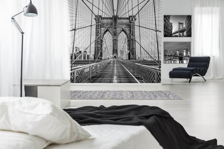 Czarno - biała fototapeta z Mostem Brooklińskim