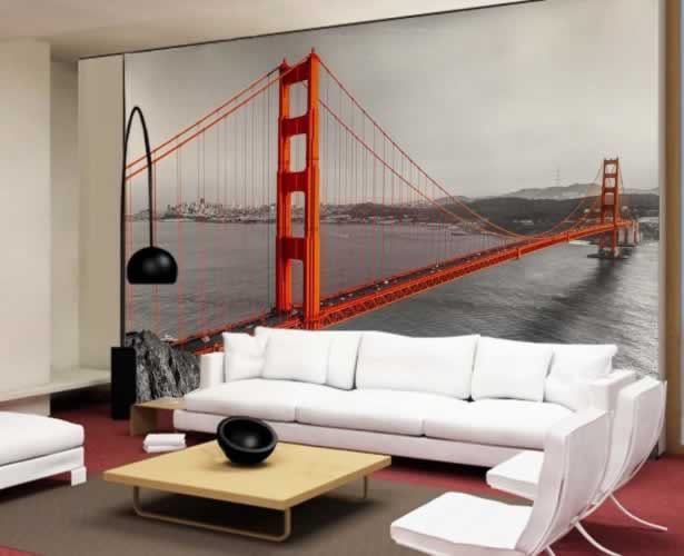 Fototapeta czarno-biała z motywem czerwonego mostu Golden Gate