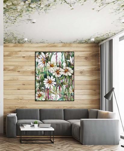 Fototapeta z białymi kwiatami na suficie