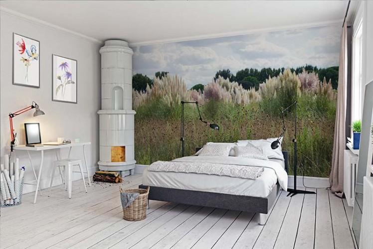 Fototapeta z łąką do sypialni w stylu rustykalnym