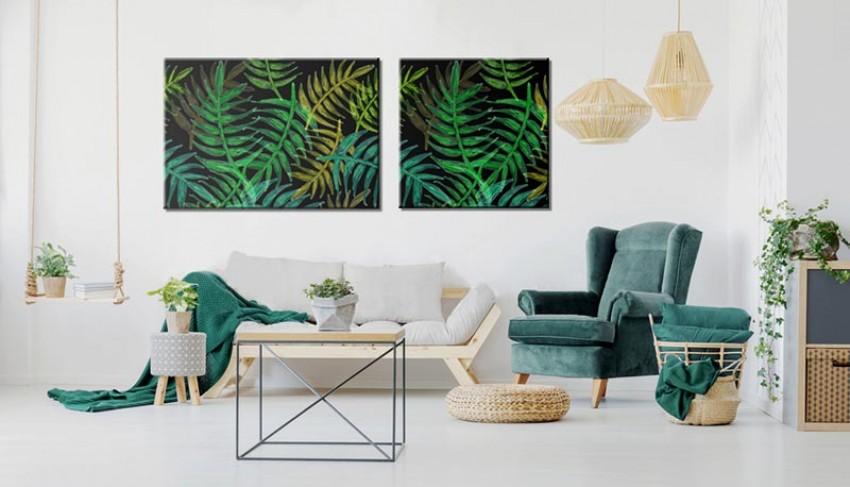 Obraz na płótnie w odcieniach zieleni - Egzotyczne liście palmy