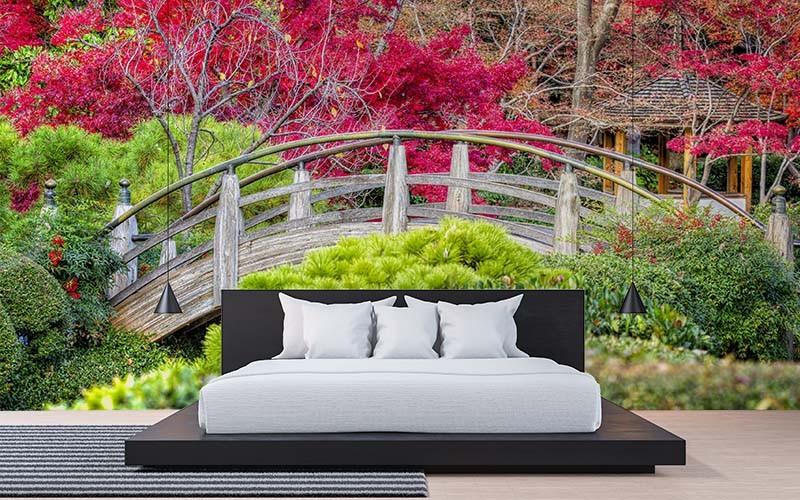 Fototapeta z motywem ogrodu japońskiego do sypialni