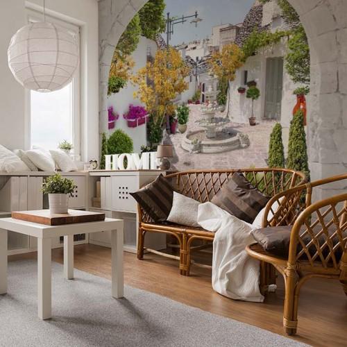 Fototapeta do salonu powiększająca przestrzeń z widokiem na uliczkę
