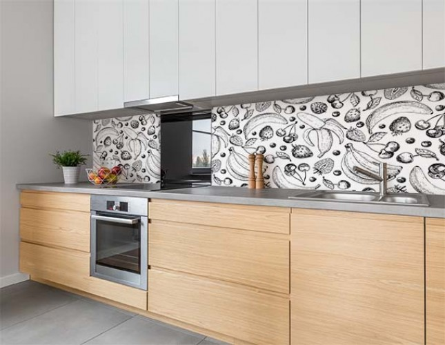 Fototapeta z owocami między szafkami kuchennymi