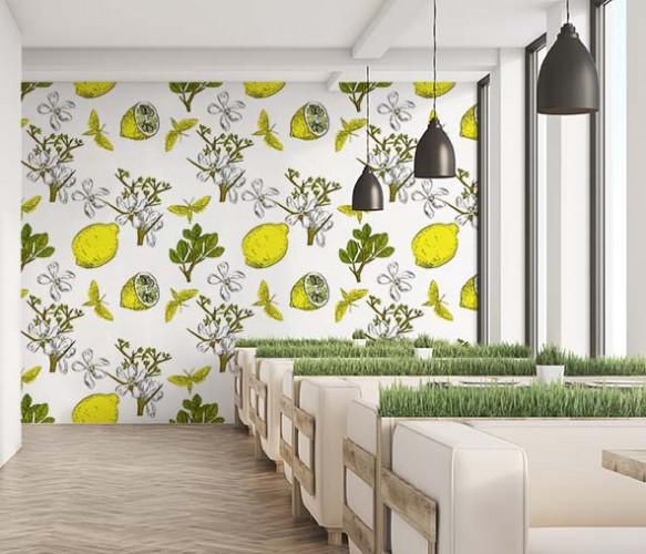 Fototapeta ze wzorem egzotycznym do wnętrza gastronomicznego.