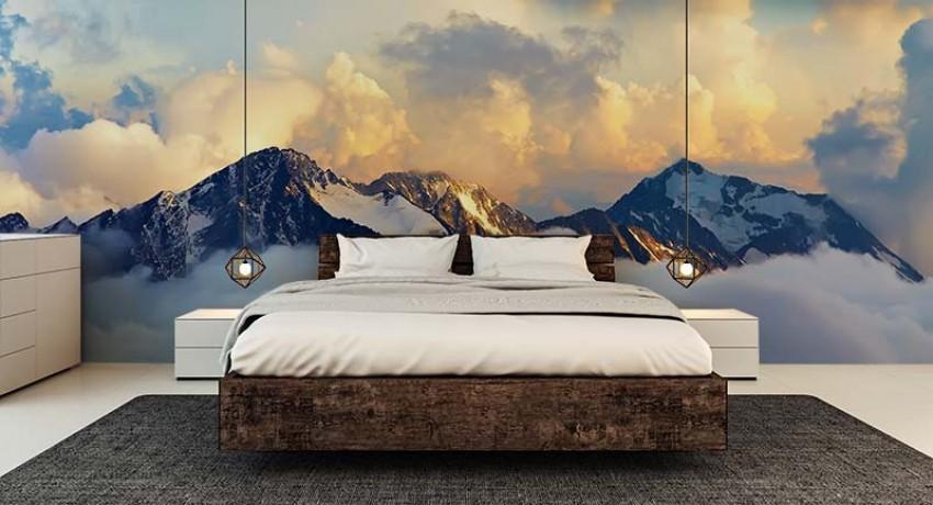 Fototapeta do sypialni - panorama gór, Alpy