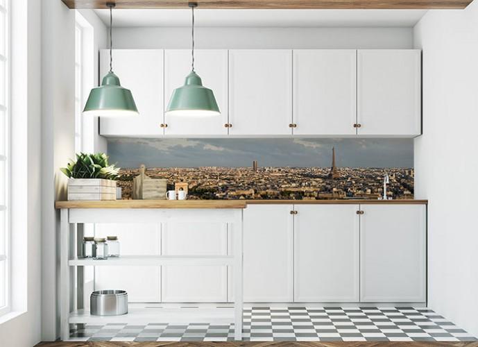 Fototapeta z panoramą Paryża między szafkami kuchennymi