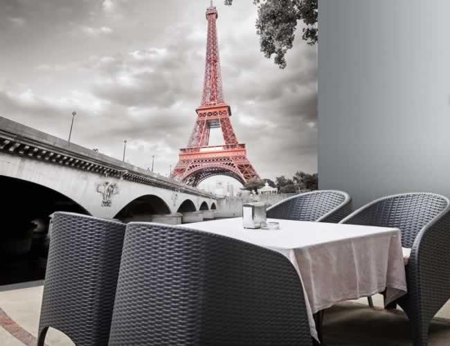 Fototapeta czarno-biała przedstawiająca Paryż z wieżą Eiffla